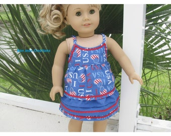 Eighteen 18 Inch Summer Patriotic Set Red White and Blue Doll Clothes by Bon Jean Creations