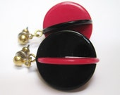Vintage Geometric Dangle Earrings Hot Pink and Black