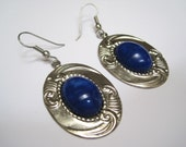 Vintage Metal and Blue Earrings Earhooks