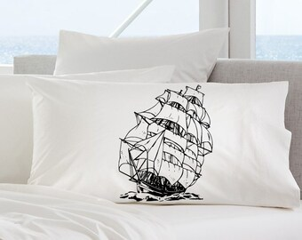 Two (2) Black Sail Boat clipper pirate ship White Standard Nautical PIllowcase s