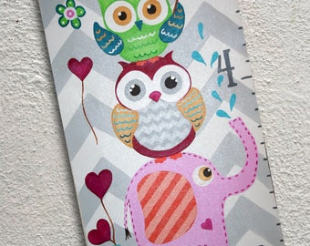 Canvas Growth Chart Custom Owls Elephants Chevron