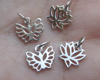 Open Work Sterling Silver Tiny Lotus or Butterfly Charms(one pair)