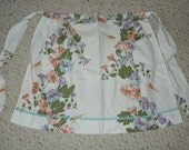 1960s Handmade Vintage Half Apron-- Morning Glories and Hummingbirds Kitchenwear Cooking Collectibles Cotton