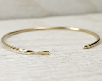 14K Gold Fill Smooth Cuff Bracelet, Simple Gold Cuff Bracelet, Custom Sized Stacking Bracelets