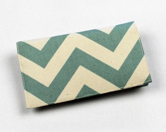 Chevron Fabric Checkbook Cover, Duplicate Checks, Pen Holder, Green, Aqua Blue, Red, Gold