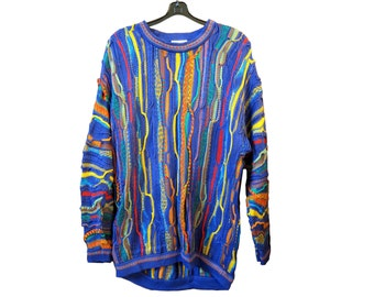 Vintage Multi color Knit Sweater - Museum Worthy Piece Wearable Art - FREE SHIP