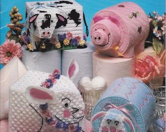 Bathroom Tissue Pets in Plastic Canvas Pattern Leaflet 3169 By American School of Needlework