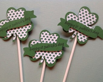 Shamrock Cupcake Toppers - Pkg of 12