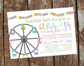 Pastel Carnival or Boardwalk Birthday Party Invitation- Print Your Own