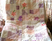 CUSTOM QUILT SAMPLE - Purple Rain And Pink Clouds Vintage Chenille Handmade Quilt