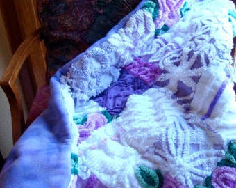 CUSTOM QUILT SAMPLE - Royal Purple Garden Vintage Cotton Chenille Handmade Quilt