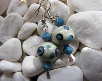 Blue White Polka Dot Lampwork Bead Earrings