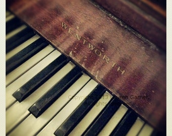 Piano - Music Instrument Keys Ebony Ivory Grand Wentworth Antique Brown Black Art Photography Wall Hanging Decor - 5x5 Photograph