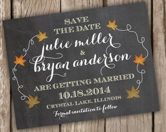 Save the Date Postcard - Rustic Chalkboard Fall Theme - Save the Date Card - Autumn Leaves Save the Date Postcard - Sample