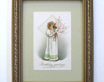 Vintage Birthday Postcard Little Girl Puppy Jane Austen Regency Gown