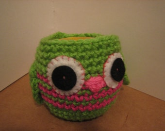 Crochet  Apple Cozy  -Great Teachers gift - Lime green or  Hot pink