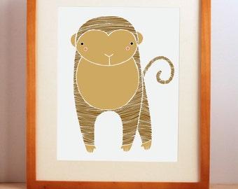 Zoo Nursery Art, Baby Animal Print, Safari Nursery Art, Safari Monkey Print, Animal Art, Monkey, Monkey Nursery Decor, Baby Room Decor