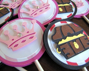 Princess and Pirate Party Cupcake Toppers, Pirate and Princess Party, Boy and Girl Party, Twin Pirate and Princess Party,  Pirate, Set of 12
