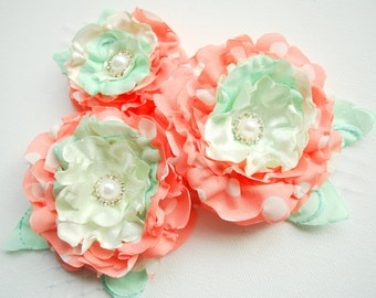 coral with mint green bridal hair flowers, weddings accessories, coral bridal corsage, bridesmaids, flower for sash, flower girls, prop