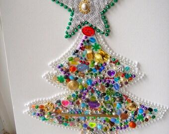 Handmade Green Star-Topped Folk Art Beaded Christmas Tree