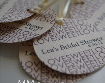 Wedding Favor Tag - Personalized 1.5inch Circle Tags - Set of 120 - Bridal Shower Favor Tags - Love Sweet Love Tags - Custom Wedding Tags