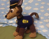 Paw Patrol inspired pup.  An orignal crochet design inspired by Chase of Paw Patrol.