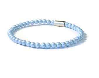 Light Sapphire Pearl Magnetic Hematite Bracelet, Therapy Jewelry, Pain Relief