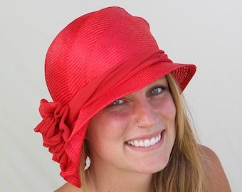 Sophia, Kentucky Derby hat, beautiful parasisol straw hat, cloche, womens millinery flapper hat Downton Abbey, red
