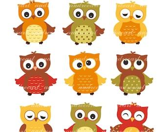 Autumn Owls Clip Art _ Autumn Owl Clipart, 9 cute owl clip art,Woodland owl Clip Art,Falls owls,baby owls,Brown Orange Owl, instant download