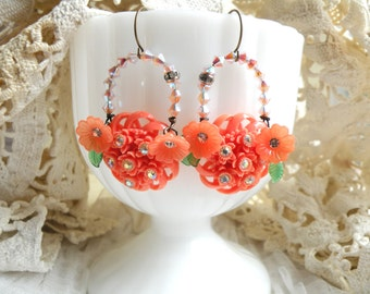 spring assemblage earrings coral color recycled vintage jewelry peach romantic cottage chic ooak
