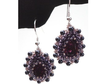 "Kit: ""God, Love Her"" Bead Embroidered Earrings, Amethyst Colorway"