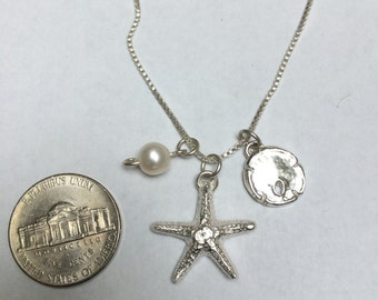 Sand Dollar, Starfish, Freshwater Pearl Charm Necklace in .999 Fine Silver, Sterling. Wear it many ways