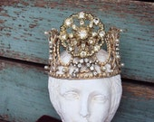 RESERVED....Antique Style Jeweled Crown Shabby Chic for Statue Santos Ornament Distressed Metal with Clear Rhinestones