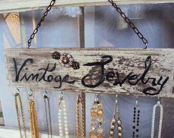 Reclaimed Wood Shabby chic Jewelry Display Rack Hooks