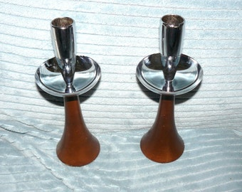 Vintage Chrome and Wood MIDCENTURY CANDLESTICKS Eames Era