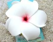 White Plumeria Hair Clip,   Flower Hair Clip,   Plumeria Accessory, Tropical Flower Clip