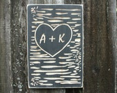 Tree Heart Carved Initials or First Names Valentine Wooden Sign - 12x18 Carved Engraved Handpainted Rustic Wooden Sign