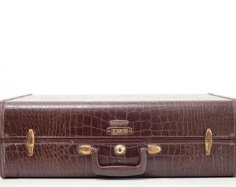 Vintage Samsonite Embossed Faux Croc Carryon Suitcase