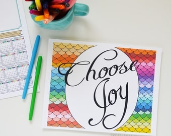 CHOOSE JOY Inspirational Quote, Rainbow, Colorful, Joy Quote, Inspiring Quote, Art Print Choose Joy, Word for the year, one little word