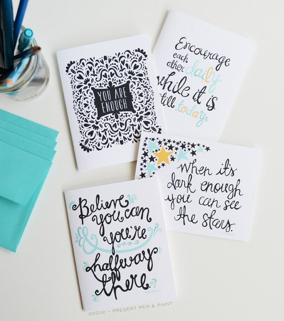 set of four folded note cards encouragement inspirational
