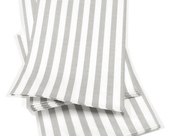 Set of 100 - Traditional Sweet Shop Grey Candy Stripe Paper Bags - 5 x 7 New Style