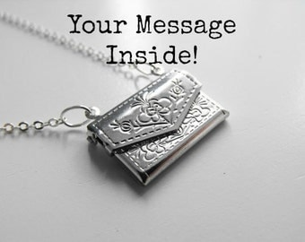 Silver Envelope Locket Custom Message; Custom Message Necklace, Personalized Jewelry