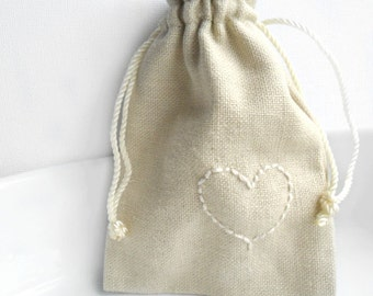 Valentine's Day Gift Bag Hand stitched Heart  Linen drawstring cotton pouches  Fabric gift bag