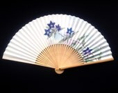 Flower Japanese Hand Fan Vintage Paper Ogi Sensu (F106) Iris