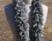 White Cheetah Fabric Ruffle Scarf