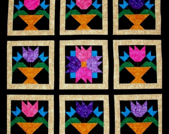 Tulips in Bloom Spring Quilt Pattern with Free Shipping