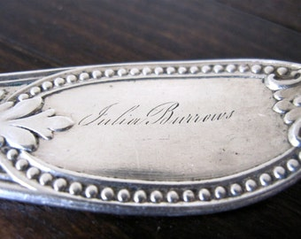 "Victorian Master Butter Knife, Silverplate Engraved ""Julia Burrows"" by H. Bliss"