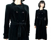 Vintage Cotton Velvet Trench Coat Sz S Long Jet Black Jacket Drizzle Lynn Hayes Free US Shipping