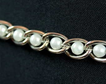 """CLEARANCE! Vintage Thin Silver Metal Chain Belt 32"""" White Pearl Beads Beaded Flower Charm Free US Shipping"""