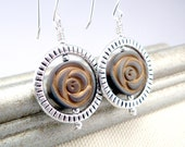 Silver and Copper Carved Rose Earrings, Rose Jewelry, Casual Botanical Mixed Metal Earrings
